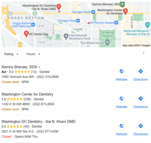 Google My Business listing in Local 3 Pack